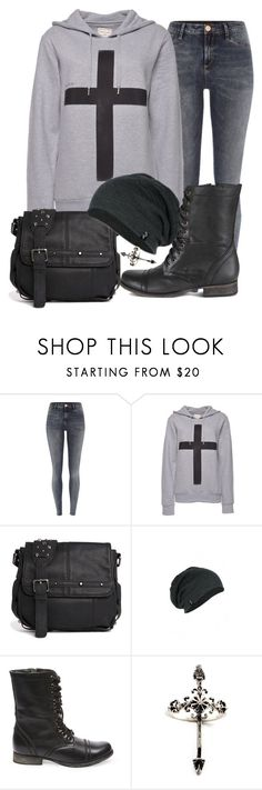 """""""If this is it don't bother cause this love is a lie"""" by rocketsheep ❤ liked on Polyvore featuring River Island, ElevenParis, Religion Clothing, Steve Madden, Rachel Entwistle, lyrics, cross and piercetheveil"""