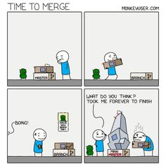Time To Merge. (via Instagram - themonkeyuser) #monkeyuser #development #devhumor #bug #pullrequest #merge #mergeconflict #fun #funny #funnytext #humor #humorous #amusing Programming Humor, Have You Seen, Satire, Software Development, Thinking Of You, Funny Pictures, Funny Quotes, Engineering, Fun Funny