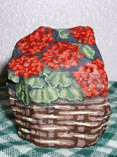 Red Geraniums Striking Floral Small Painted Rock Signed Vivian Allen   eBay