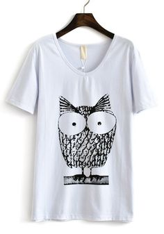 White Owl Print V-neck Short Sleeve Cotton T-Shirt