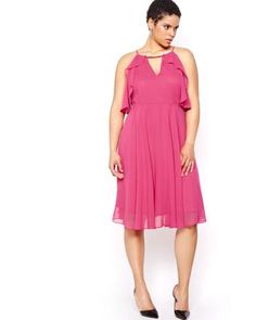 Shop online for Michel Studio Solid Fit & Flare Dress with Ruffles. Find Party-dresses, and more at AdditionElle Plus Size Dresses, Dresses For Work, Summer Dresses, Elle Fashion, Addition Elle, Online Dress Shopping, Fit Flare Dress, Dresses Online, Ruffles