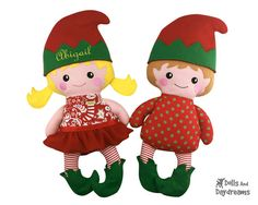 In The Hoop Elf Embroidery Machine ITH Christmas Doll Pattern Fast Easy DIY Elves Personilized Gift Toy Pattern