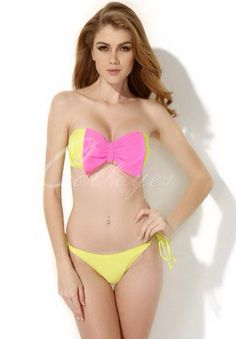 Cute pink and yellow 2 piece swimsuit.