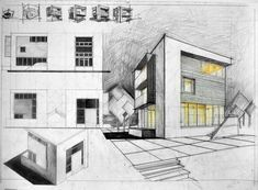 Cube house architectural drawing arhitectura architecture, a Architecture Design Concept, House Architecture Styles, Architecture Drawings, Architecture Portfolio, Architecture Plan, Interior Architecture, House Sketch, House Drawing, Poster Layout
