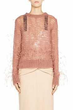 Light loose-knit pullover with ostrich feather detail Round-neck, ribbed hem Feather, Bell Sleeve Top, Blush, Pullover, Wool, Knitting, Lace, Fashion, Moda