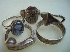 Konvolut 5 Ringe Ring 925 Silber Gemme Kamee Nachlass Art ca. 21 Gramm