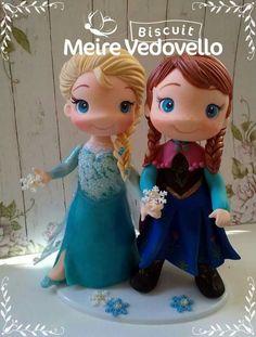 Frozen Cake, Frozen Party, Frozen Birthday, Bolo Frozen, Polymer Clay Disney, Polymer Clay Fairy, Fondant Figures Tutorial, Fondant Toppers, Disney Princess Party