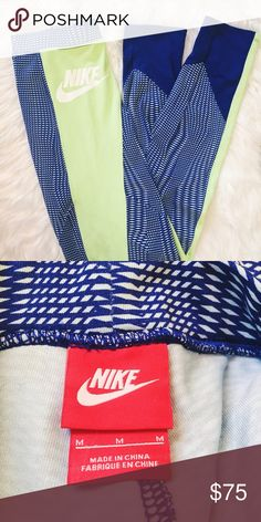 🆕 Nike Leggings Super soft authentic Nike leggings featuring cerulean blue net design and lime green panel, white Nike check detail.  * brand new without tags / never worn * stretchy dri-fit sweat wicking material * mid-rise fit, compression style * US women's M but can fit M/L Nike Pants Leggings