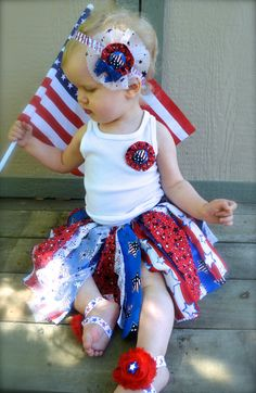 4th of July outfit Patriotic outfit Scrappy tutu 4th of july headband barefoot sandals and brooch baby children on Etsy, $40.00