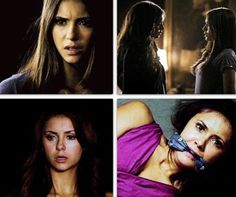Elena's reaction meeting Katherine: why do i look like her?! also scared! Elena's reaction meeting Amara: ....seriously... another one? this is getting old!