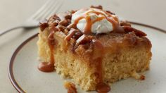 Serve this yummy apple upside-down cake warm from the oven. It's all made easier with Betty Crocker™ cake and frosting.