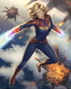 Captain Marvel by Satriasa on DeviantArt Miss Marvel, Marvel Vs, Marvel Heroes, Marvel Characters, Fictional Characters, Marvel Anime, Avengers Cartoon, Marvel Comics Art, Marvel Girls