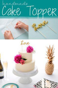 Handmade Cake Topper Using Hot Glue! Make DIY cake decor for weddings, parties, and holidays using glitter, parchment paper, toothpicks, and Elmer's new CraftBond Less Mess Hot Glue Sticks & Hot Glue Gun.