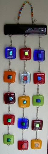 fused glass wall hanging...If I did this it would have small butterfly/dragonflies instead of squares