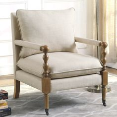Vintage Inspired Beige Upholstered Accent Chair with Decorative Casters(Fabric) Classy Living Room, New Living Room, Living Room Chairs, Living Room Upholstered Chairs, Chair Upholstery, Chair Fabric, Upholstered Furniture, Modern Armchair, Modern Chairs