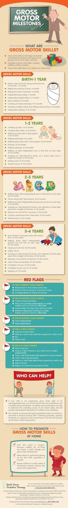 Gross Motor Milestones from North Shore Pediatrics - great tips for new parents