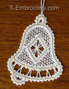 Bell Battenberg lace Christmas tree ornament