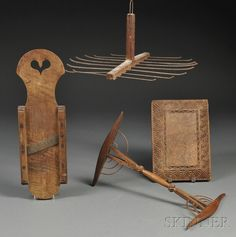 Four Woodenware Household Items, America and England, late 18th/early 19th century, a figured walnut slicer with cutout heart handle, a maple niddy-noddy with compass and geometric carved decoration, a cutting board with chamfered-edge and chip-carved border, and a hanging chestnut and iron wire candle-making holder, (minor imperfections), dia. 12 1/2 to 18 1/2 in.