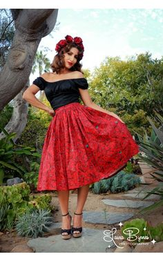 Pinup Couture- Jenny Skirt in Red Vintage Spanish Fan Print   Pinup Girl Clothing