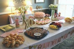 Lindsay's Sweet World: Pink and gold first birthday party - food table