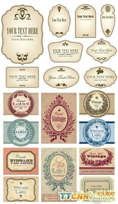 European retro bottle stickers vector design