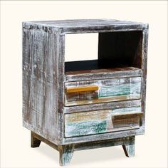 Rustic Hand Painted Reclaimed Wood Distressed End Table Night Stand