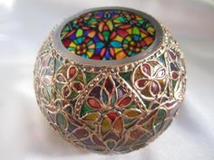 Globe Glass Vase Hand Painted Stained Glass Inspired OOAK Candle/Tealight Holder A Kaleidoscope of Colours Reminiscent of Notre Dame Paris