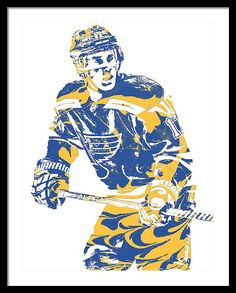 Jaden Schwartz Framed Print featuring the mixed media Jaden Schwartz St Louis Blues Pixel Art 2 by Joe Hamilton #letsgoblues #playgloria #stlouisblues