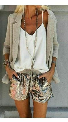 summertime sassy in sequins and linen