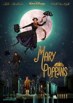 Redesign Mary Poppins Poster and DVD Case on BehanceYou can find Mary poppins and more on our website.Redesign Mary Poppins Poster and DVD Case on Behance Julie Andrews Mary Poppins, Mary Poppins Movie, Mary Poppins 1964, Film Disney, Disney Movies, Iconic Movies, Old Movies, Merry Poppins, Deco Cinema