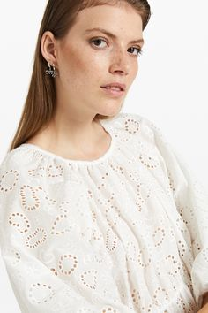 Blouse with broderie anglaise and drawstring | ottod'Ame