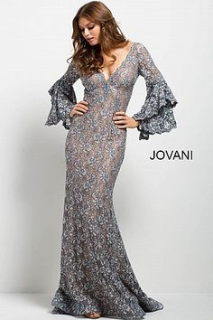 Silver Lace Plunging Neckline Mermaid Dress 57048  MermaidPromDress   Prom2018  Jovani Prom Dresses 2018 f7f6bc5c85c1