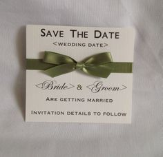 Sage green classic save the date card. Available in any colour to match the theme and style of your wedding. #sagegreensavethedate
