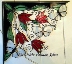 Stained-Glass-Wire-Window-Corners-Red-Tulips-White-Butterflies-Handmade