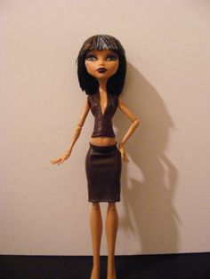 Monster High Fashion Brown Top and Skirt Outfit by rosdolls, $6.00