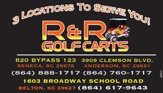 820 BYPASS 123   SENECA, SC 29678  (864) 888-1717    3909 CLEMSON BLVD.  ANDERSON, SC 2962... | R And R Golf Carts And Powersports - Belton, SC #georgia #HartwellGA #shoplocal #localGA