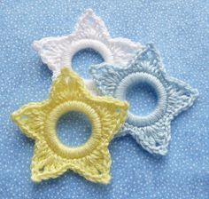 Whiskers & Wool: Star - Christmas Ring Ornament - Imagine them in red, white, and blue for your 4th of July tree