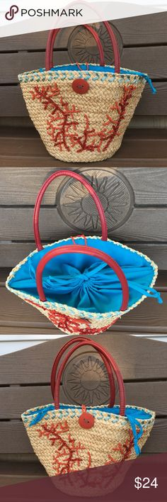 Avon Drawstring Tropical Purse w/Coral Beading Avon/mark. Drawstring Straw Purse-Tote w/Coral Beading has Only been Very Lightly Used During My Tropical Disney Cruise Vacation.  (I Swam with the Rays!)  It's a Light Natural Straw Color, Red Handles & Turquoise Blue Fabric w/ 2-Tone Red/Coral Beading Mimicking Ocean Coral!  Slight Flaw Markings Interior Only I Think is their Factory Maker's Glue.  (See Last Photo)   Inside has Both a Zippered Compartment & also a Divided Sleeve Area on the…