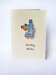 Quilled Birthday card handmade greeting card by szalonaisa on Etsy, $7.50