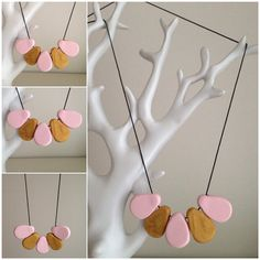 Pastel and metallic long clay necklace. Handmade in Melbourne. on Etsy, $22.00 AUD