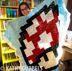 Mario Mushroom Granny Square crochet blanket by Kathy Gubbels