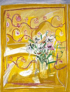 Elizabeth Blackadder (Scottish, b. 1931). Flowers on an Indian Cloth. 1965. Oil crayon on paper.