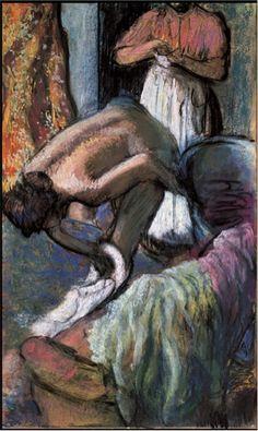 """Edgar Degas. Le Petit déjeuner après le bain (jeune femme s'essuyant). c. 1894.Pastel on paper. 39-1/4"""" × 23-1/2"""".Private Collection"""
