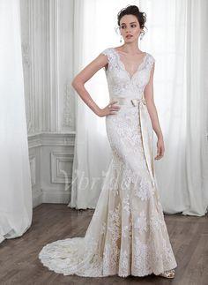 Wedding Dresses - $237.00 - Trumpet/Mermaid V-neck Chapel Train Lace Wedding Dress With Sash Bow(s) (0025056594)