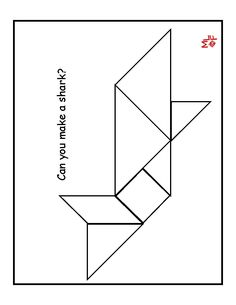 Tangram pieces pattern and a range of printable designs to create from the pieces.