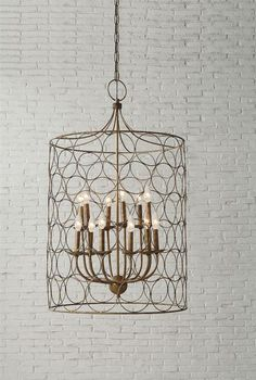 Lighting Home Decor Antique Gold Metal Chandelier with Circles $759.99 White Owl and Company offers a full line of Home Decor and Home Furnishings.  www.WhiteOwlCompany.com