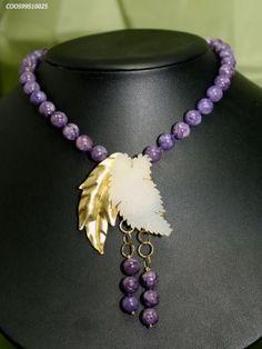 charoite necklace central leavesgold 18kt.and drusy quartz by mondoprezioso.com