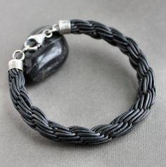 Mens Woven Black Leather Bracelet Thick Braid by LynnToddDesigns, $65.00 interesting weave