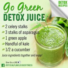 Go Green Detox Juice Detox Diet Drinks, Detox Juices, Veggie Juice, Green Juice Recipes, Bebidas Detox, Lemon Diet, Detox Soup, Natural Detox, Healthy Detox