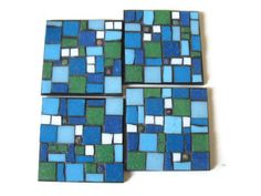 Glass Mosaic Coaster Set Mother's Day Kitchen Home Decoration Blue Green Millefiori via Etsy